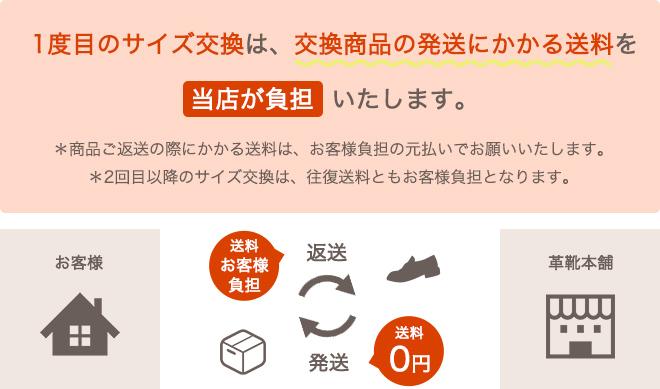 1度目のサイズ交換は、交換商品の発送にかかる送料を、当店が負担いたします。